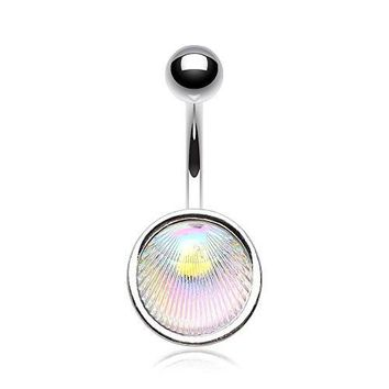 Iridescent Ariel's Shell Belly Button Ring