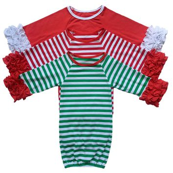 Christmas Baby's first custom personalized red and white stripe green trim gown sibling pajamas boy girl newborn romper