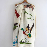vintage camp afghan blanket / Deer . Ducks . Guns and Fish