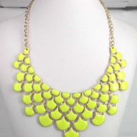 Stylish Chunky Neon Yellow Oil Drop Pendant Bib Link Statement Necklace