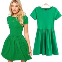 Women Pleated Slim Short Sleeve Skater Party Mini Dress Cotton Blouse
