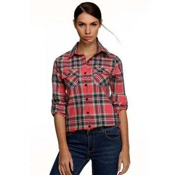 Women Fashion Casual Turn Down Collar Long Sleeve Plaid Check Button Down Shirt