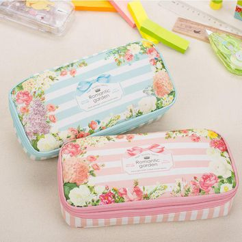 2017 Waterproof Large Capacity Romantic Floral Garden Double Layers Flower Pencil Case School Pen Bag Holder Pouch Stationery