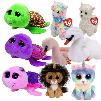 "Ty Beanie Boos 6"" 15cm Turtle Lion Dog Cat Dragon Unicorn Fox Ghost Wolf Bear Teddy Plush Soft Big-eyed Stuffed Animal  Doll Toy"