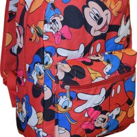 """Disney Junior Mickey Mouse & Friends 16"""" Boys Canvas Red School Backpack"""