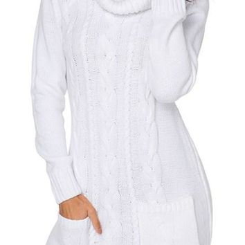 Chic White Cowl Neck Pocket Cable Knit Sweater Dress