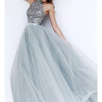 [97.99] Fabulous Tulle & Satin High Collar Neckline A-line Prom Dresses with Beadings & Rhinestones - dressilyme.com