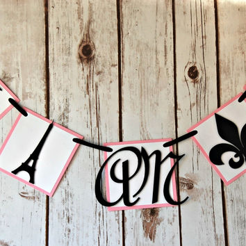 Paris Themed Birthday Party Mini Banner