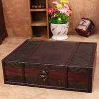 Chinese New Continental Retro Antique Wooden Treasure Chest Wooden Storage Box Creative Useful Jewelry Box Makeup Organizer