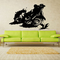 Wall decal art decor decals sticker bedroom design mural tribal dirt bike moto motorcycle race rally GP (m822)