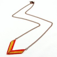 Boho V Necklace Beaded Red Orange Yellow and Green Chevron Jewelry, Copper Chain, 3 Lengths Available