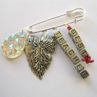 Best Teacher present Brooch butterfly Clip Bag Charm Silver Pin Sparkly Charms
