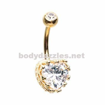 Golden Sacred Heart Crown Belly Button Ring Navel Ring Belly Piercing 14ga 316L Surgical Stainless Steel Body Jewelry