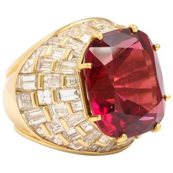 Oscar Heyman Gem Rubellite Tourmaline Diamond Gold Ring
