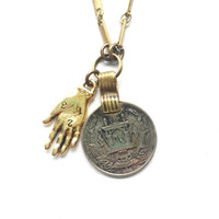 Palmistry Hand Vintage Coin Necklace // Palm Reading Necklace // Hand Necklace // Coin Necklace // Fortune Teller // Numerology // Gypsy