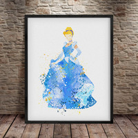 Cinderella Print, Cinderella Watercolor Art, Disney Poster, Disney Print Princess , Disney Art, Nursery Poster, Girl Room Decor Wall Art- a3