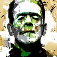 FRANKENSTEIN horror movie monster original green black tan Pop Art illustration 18x24