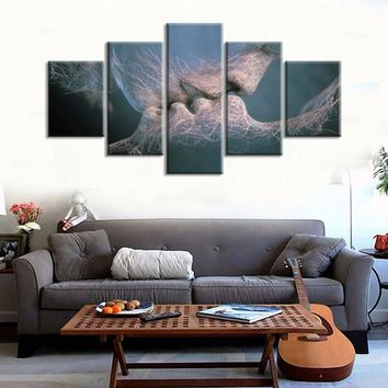 Love Kissing Kiss Man Woman Wall Art Canvas Print Bedroom Living Room Wall Decor
