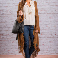 So Hip Fringe Cardigan, Brown