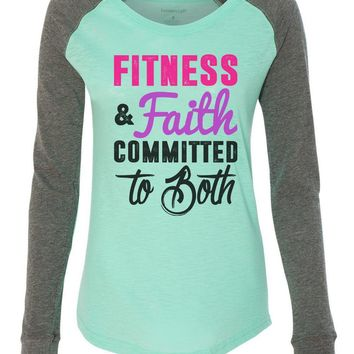 """Womens """"Fitness & Faith Committed To Both"""" Long Sleeve Elbow Patch Contrast Shirt"""