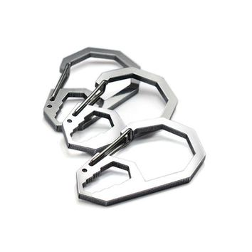 EDC Creative portable outdoor stainless steel carabiner keychain octagonal buckle high load-bearing polygon quick release hook