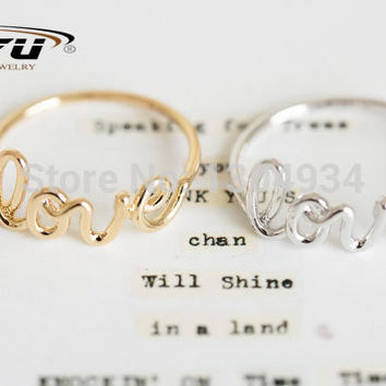 2016 New Fashion Hot Fashion Exquisite Alloy Love Letters Friendship Ring Women Simple Cute Cool Rings R018
