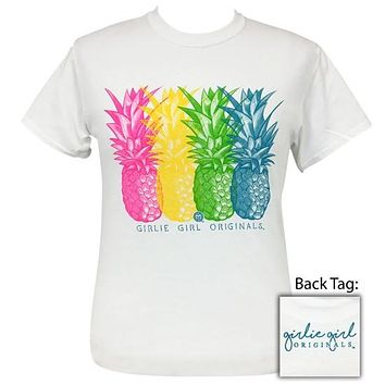 Girlie Girl Originals Preppy Vivid Pineapples White T-Shirt
