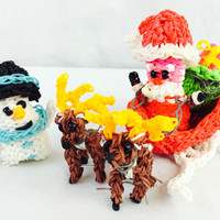 Jolly Santa in Wintry Sleigh/Sled Bag of Presents 2 Reindeer Snowman Christmas Handcrafted Rainbow Loom Rubber Bands Magical Festive Decor