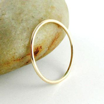 14K Solid Gold Stacking Ring, Round Delicate Gold Band