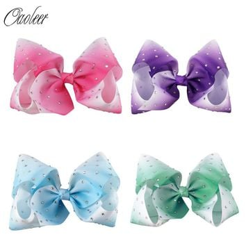 "4pcs/lot 7"" Large Ombre Full Rhinestone Hair Bow With Clip Girl Dance HairPin Boutique Hair Accessories For Kids"
