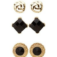 Baroque Button Earrings - 3 Pack by Charlotte Russe - Black