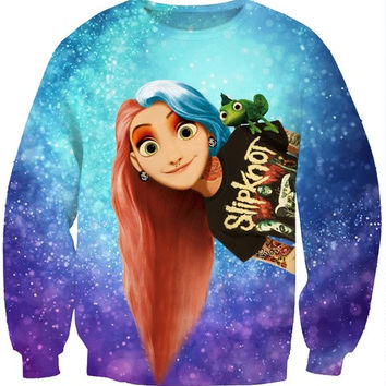 Fashion Women's Punk Rapunzel Princess Print Cute Sweatshirt Hoody Spring Autumn Pullover Streetwear (Size: M, Color: Multicolor) = 1920295940