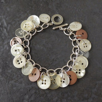 Cream & Brown Button Bracelet, Natural Colour Buttons Bracelet, Button Jewellery Jewelry, Upcycled Repurposed