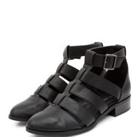 Black Strappy Ankle Round Toe Shoe