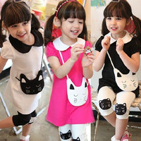 New Kids Girls Clothes 2 pcs Cotton Kitty Pattern Lapel T-shirt+Short Pants Outfits