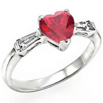 Tender Heart - Heart Shaped Solitaire Ruby Cubic Zirconia Anniversary Ring