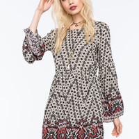 Chloe K Baby Doll Border Print Dress Multi  In Sizes