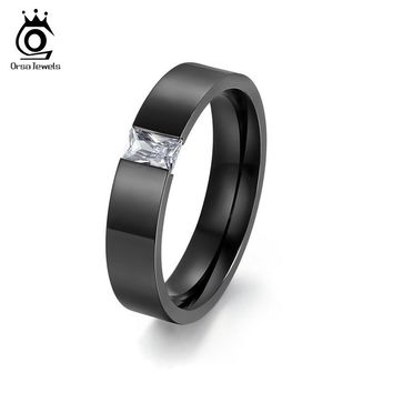 ORSA JEWELS Tension Setting Square Zircon Rings for Men Women Black Color&Gold-Color Stainless Steel Ring for Parties OTR78