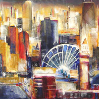 "Chicago Skyline Art Print From a Chicago Painting - ""Chicago From Navy Pier"""