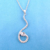 Large Dangling Snake Pendant Necklace in Silver with Rhinestones