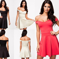 Fashion Gift Black/Pink/White Classic Vintage 50s' 60s' Off Shoulder Skater Dress  = 5738905793