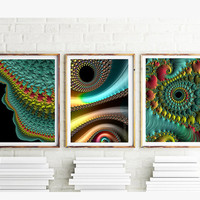 Colorful Fractal Art - Set of THREE fine art prints - wall grouping for home or office