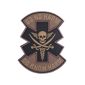 Lancer Tactical Velcro Morale Patch AC-481D - PVC Do No Harm Skull, Black / Tan