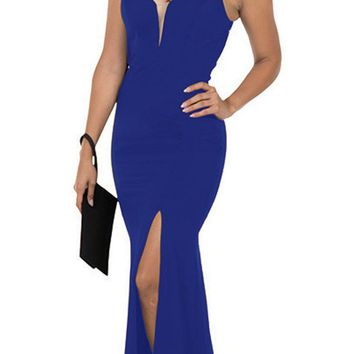 Cut-Out Back Mermaid Long Prom Dress with Slit Royal Blue