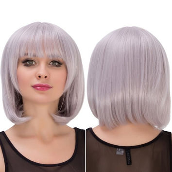 Silver Grey Purple Short Full Bang Straight Layered Endearing Women's Cosplay Lolita Synthetic Wig