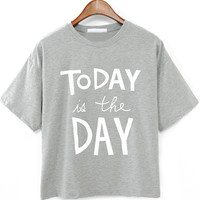 Grey Letters Print Short Sleeve Cropped T-shirt