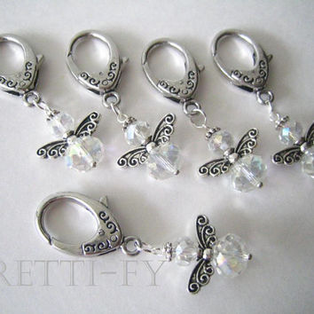 Small Crystal Angel Keychain Charm, Crystal Angel Charms, Key Ring Charms, Event Favor Package, Party Favors, First Communion Favors, Custom