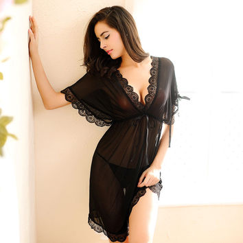Womens Nightdress Sexy Lace Splicing Nightgowns Batwing Sleeve V-Neck Woman Sleepwear Nightgown Chemise De Nuit Ladies Nightgown