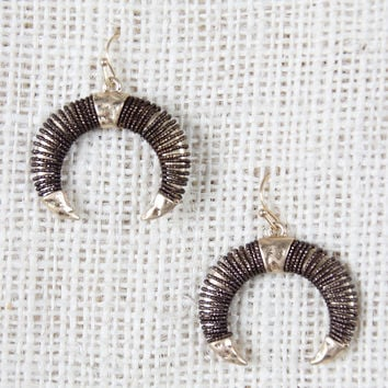 Wire Wrapped Horns Dangle Earrings