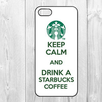 coffee - iphone 5 case iphone 5s case iphone 5c case Hard plastic Soft rubber iphone 5 5s 5c coveri keep calm and drink a starbucks coffee